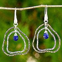 Gold plated lapis lazuli dangle earrings, 'Ripple' - Lapis Lazuli on Gold Plated and Sterling Silver Earrings