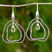 Gold plated lemon quartz dangle earrings, 'Ripple' - Gold Plated Sterling Silver and Lemon Quartz Earrings