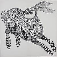 'Beautiful Rabbit' - Black and White Rabbit Painting from Thailand