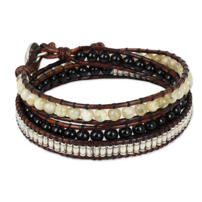 Onyx and jasper wrap bracelet, 'Hill Tribe Discovery' - Leather Wrap Bracelet with Onyx Jasper and Silver