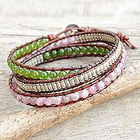 Lepidolite and quartz wrap bracelet, 'Hill Tribe Discovery'