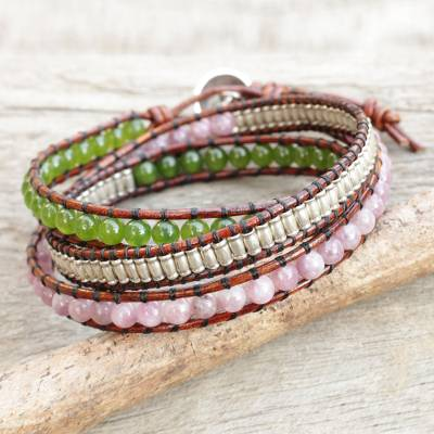 Lepidolite and quartz wrap bracelet, 'Hill Tribe Discovery' - Lepidolite Quartz and Silver on Handcrafted Leather Bracelet