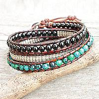 Onyx and serpentine wrap bracelet, 'Hill Tribe Discovery' - Leather Wrap Bracelet with Onyx Serpentine and Silver