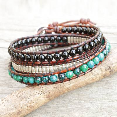 Onyx And Serpentine Wrap Bracelet Hill Tribe Discovery Leather With