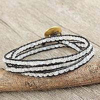 Gold plated rainbow moonstone wrap bracelet, 'Solar Treasure' - Rainbow Moonstone Leather Bracelet with Gold Plate Clasp