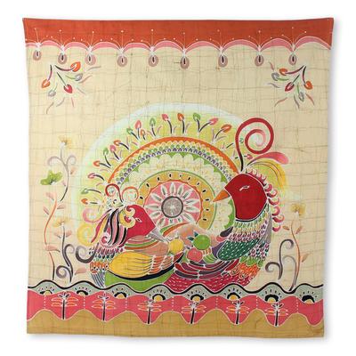 Cotton batik wall hanging, 'Amorous Geese' - Batik on Cotton Wall Hanging Orange Geese and Flowers