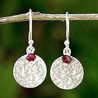 Garnet dangle earrings, 'Red Harvest Moon'