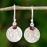 Artisan Crafted Sterling Silver and Garnet Earrings Thailand, 'Red Harvest Moon'