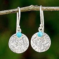 Sterling silver dangle earrings, 'Blue Harvest Moon' - Artisan Crafted Jewelry Sterling Silver and Calcite Earrings