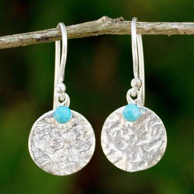 Sterling silver dangle earrings, 'Blue Harvest Moon' - Artisan Crafted jewellery Sterling Silver and Calcite Earrin