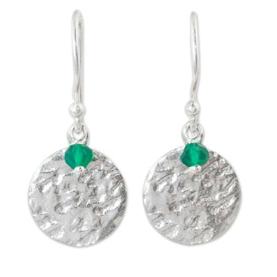 Sterling silver dangle earrings, 'Green Harvest Moon' - Sterling Silver Artisan Crafted Earrings with Green Onyx