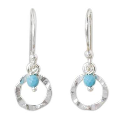 Sterling Silver and Blue Calcite Hook Earrings from Thailand
