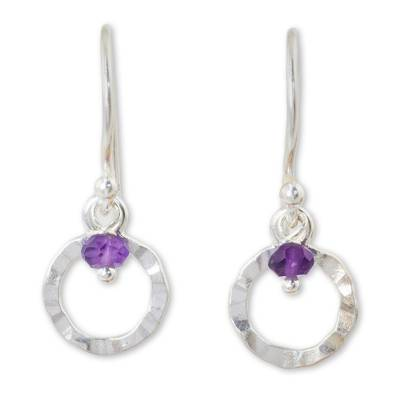 Artisan Crafted Sterling Silver Earrings with Amethyst