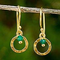 Gold plated dangle earrings, 'Rustic Modern' - Gold Plated Sterling Silver Earrings with Green Onyx