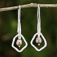 Cultured pearl dangle earrings, 'Sea Treasure' - Grey Pearls on Sterling Silver Artisan Crafted Earrings
