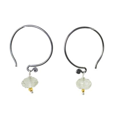 Prasiolite dangle earrings, 'Precious Mint' - Prasiolite on Sterling Silver Hook Earrings with Golden Bead