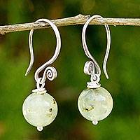 Prehnite dangle earrings, 'Mystical Me' - Handmade Prehnite and 950 Silver Earrings from Thailand