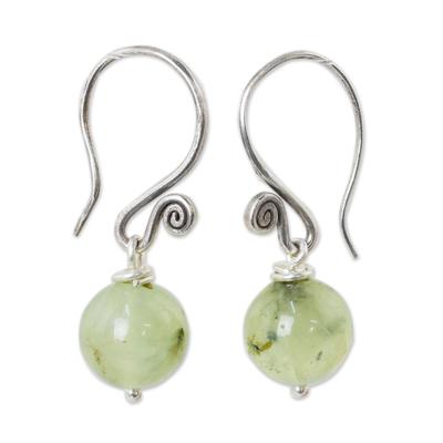 Prehnite dangle earrings, 'Mystical Me' - Handmade Prehnite and 950 Silver Earrings from Thailand