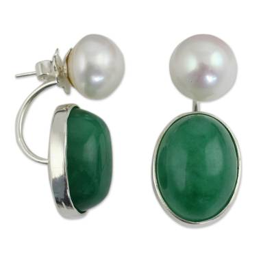 Cultured pearl and quartz drop earrings, 'Moonlit Iridescence' - White Pearls and Green Quartz Earrings from Thailand