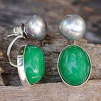 Cultured pearl and quartz drop earrings, 'Grey Iridescence' - Grey Pearls and Green Quartz on Sterling Silver Earrings