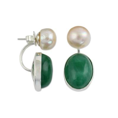 Cultured pearl and quartz drop earrings, 'Peach Iridescence' - Peach Color Pearls and Green Quartz Earrings from Thailand