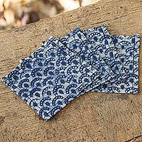 Cotton batik coasters, 'Indigo Arches' (set of 4)