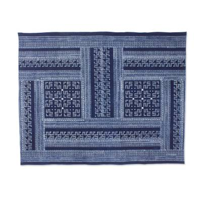 Cotton batik tablecloth, 'Hmong Lace'  - Indigo Blue Tablecloth Artisan Crafted Cotton Batik (5x6.5)