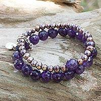 Cultured pearl and amethyst stretch bracelet, 'Iridescent Love'