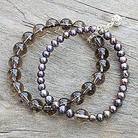 Cultured pearl and smoky quartz stretch bracelet,
