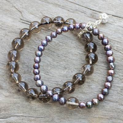 Novica Cultured pearl and amethyst stretch bracelet, Iridescent Love