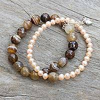 Cultured pearl and agate stretch bracelet, 'Iridescent Forest' - Pearl and Agate Bracelet with Silver Elephant Charm