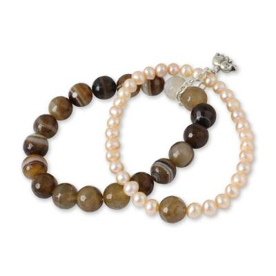Pearl and Agate Bracelet with Silver Elephant Charm