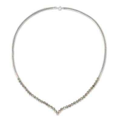 Marcasite pendant necklace, 'Siam Charm' - Marcasite Studded Sterling Silver Necklace from Thailand