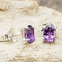 Amethyst stud earrings, 'Sparkling'