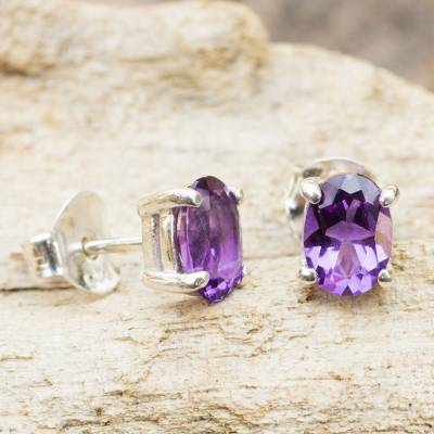 Amethyst stud earrings, 'Sparkling' - Amethyst Stud Earrings Sterling Silver Thai Jewelry