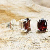 Garnet stud earrings, 'Sparkling' - Garnet Stud Earrings Sterling Silver Thai Jewelry