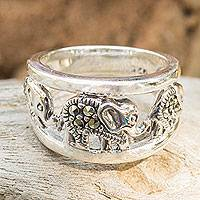 Marcasite band ring, 'Thai Elephant Journey'