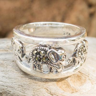Marcasite band ring, 'Thai Elephant Journey' - Sterling Silver Band Ring with Marcasite Elephants
