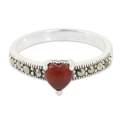 Marcasite and onyx band ring, 'True Love Sparkle' - Thai Silver and Marcasite Ring with a Red Onyx Heart