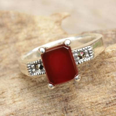Onyx and marcasite cocktail ring, 'Rose Wine' - Thai Marcasite and Red Onyx Cocktail Ring