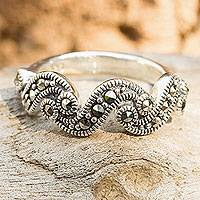 Marcasite band ring, 'River of Starlight'