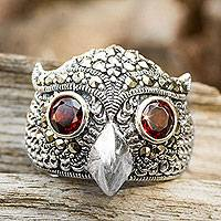 Marcasite and garnet cocktail ring, 'Owl Sparkles' - Owl Theme Handcrafted Marcasite and Garnet Cocktail Ring