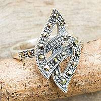 Marcasite cocktail ring, 'Modern Flame' - Artisan Crafted Modern Marcasite Cocktail Ring