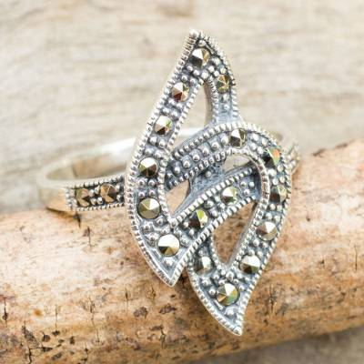 Artisan Crafted Modern Marcasite Cocktail Ring