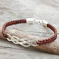 Leather and sterling silver braided bracelet, 'Forever Entwined' - Sterling Silver and Brown Leather Bracelet from Thailand