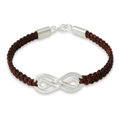 Leather and sterling silver braided bracelet, 'Double Brown Infinity' - Brown Leather Hand Braided Bracelet with Silver