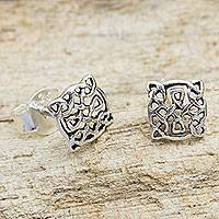 Sterling silver stud earrings, 'Celtic Circle' - Artisan Crafted Petite Celtic Knot Silver Earrings