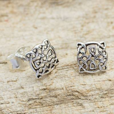 Sterling Silver Stud Earrings Celtic Circle Crafted Pee Knot