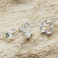 Sterling silver stud earrings, 'Four-Leaf Clover'