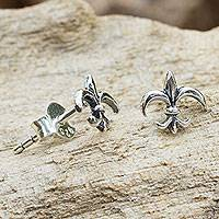 Sterling silver stud earrings, 'Fleur-de-lis' - Thailand Fleur de Lis Sterling Silver Stud Earrings